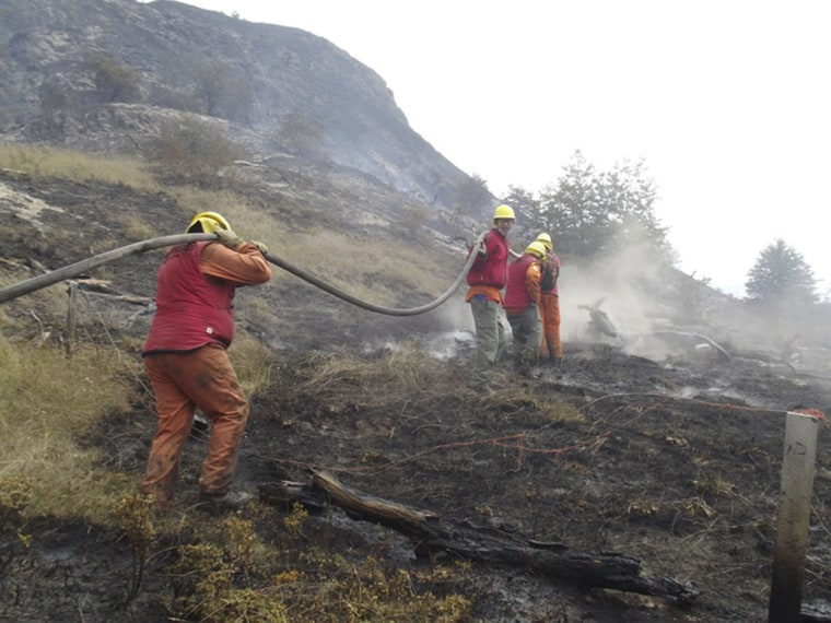 Firefighters from neighboring Argentina help battle Chile's Torres del Paine wildfire on Friday.