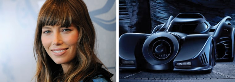 The Batmobile, at right, wants to know if it in some way offended Jessica Biel, left, who is refusing to name her someday-child after it.