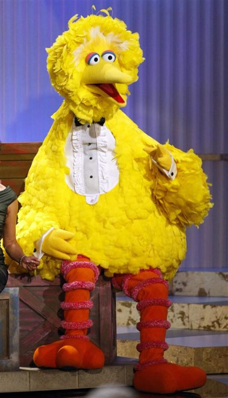 """""""Sesame Street"""" character Big Bird sits onstage before accepting a lifetime achievement award at the Daytime Emmy Awards in this August 2009."""