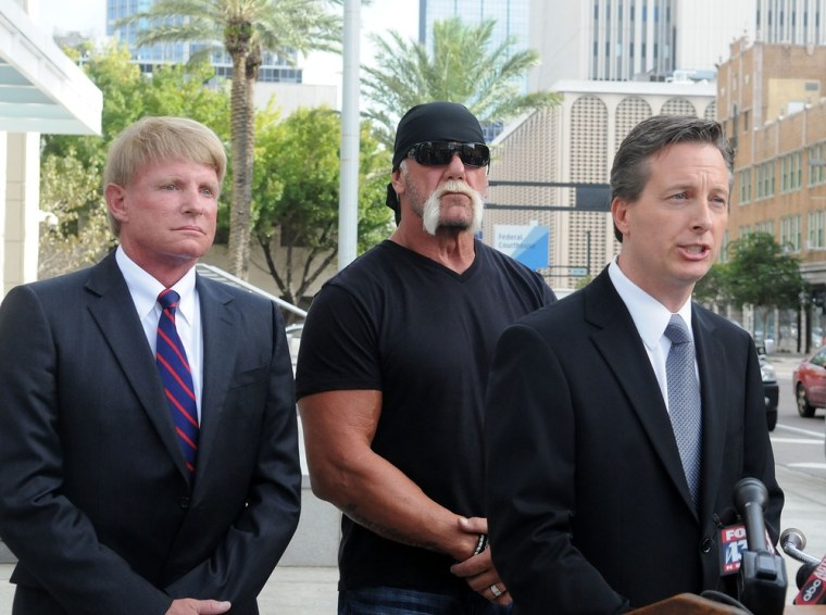 Terry Bollea, aka Hulk Hogan, center, and his attorneys attend a press conference  in Tampa, Florida on Monday.