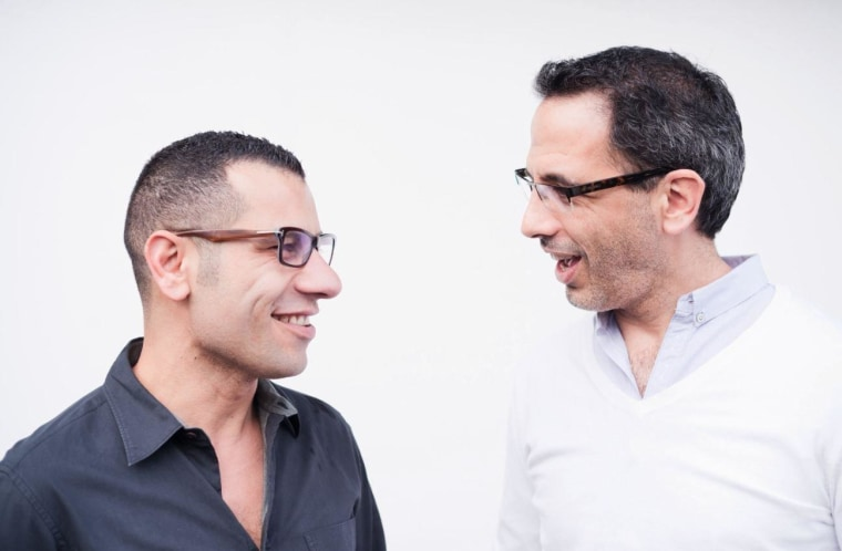 """Sami Tamimi (left), who is Arab, and Yotam Ottolenghi, who is Jewish, share the similarities in their cuisine, collaborating in their new cookbook, \""""Jerusalem.\"""""""