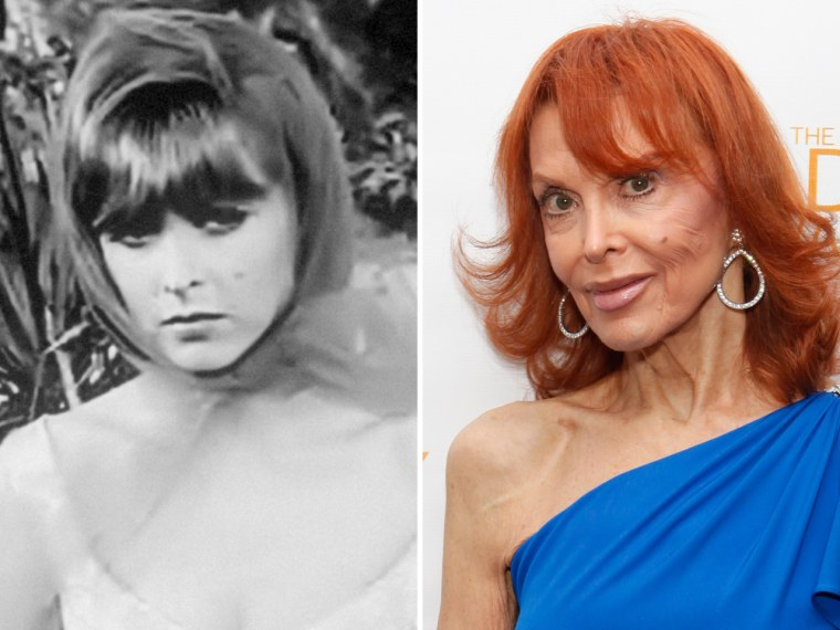 """Tina Louise as Ginger on \""""Gilligan's Island\"""" and in a more recent photo, still sporting her famed red tresses."""