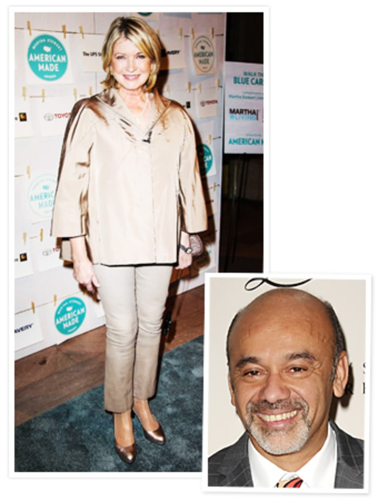 Martha Stewart is a big fan of designer Christian Louboutin's famous heels, but she prefers the soles painted black, not signature Louboutin red.