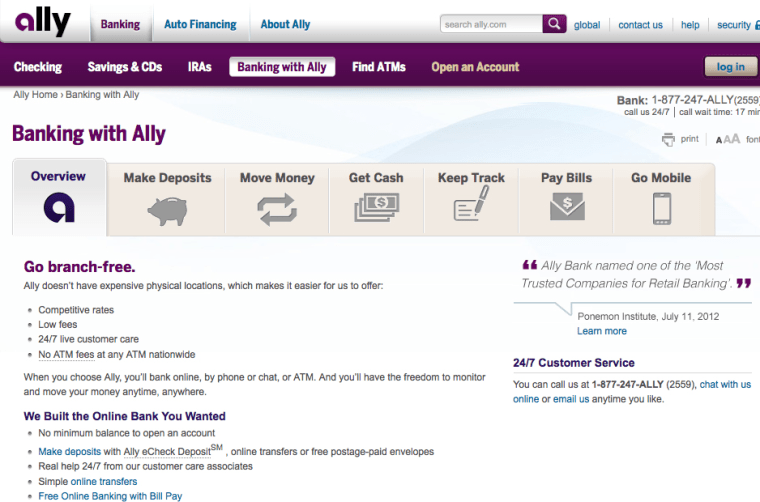 Screenshot of one of Ally Bank's web pages.