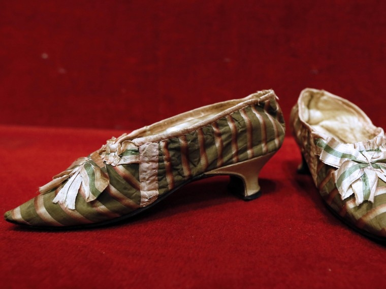 A pair of shoes that supposedly belonged to French Queen Marie-Antoinette.