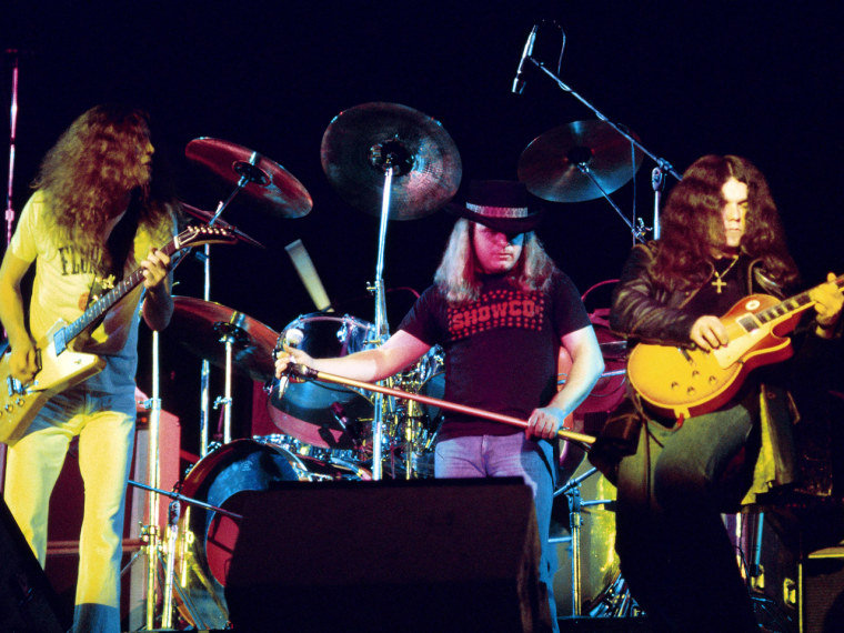 Lynyrd Skynyrd performs in 1976, a year before the plane crash.