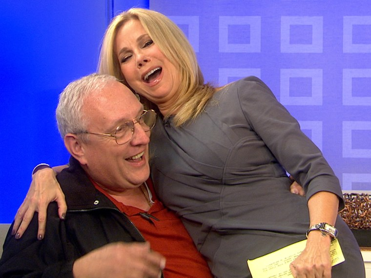 Kathie Lee cozies up to the crew on Friday.