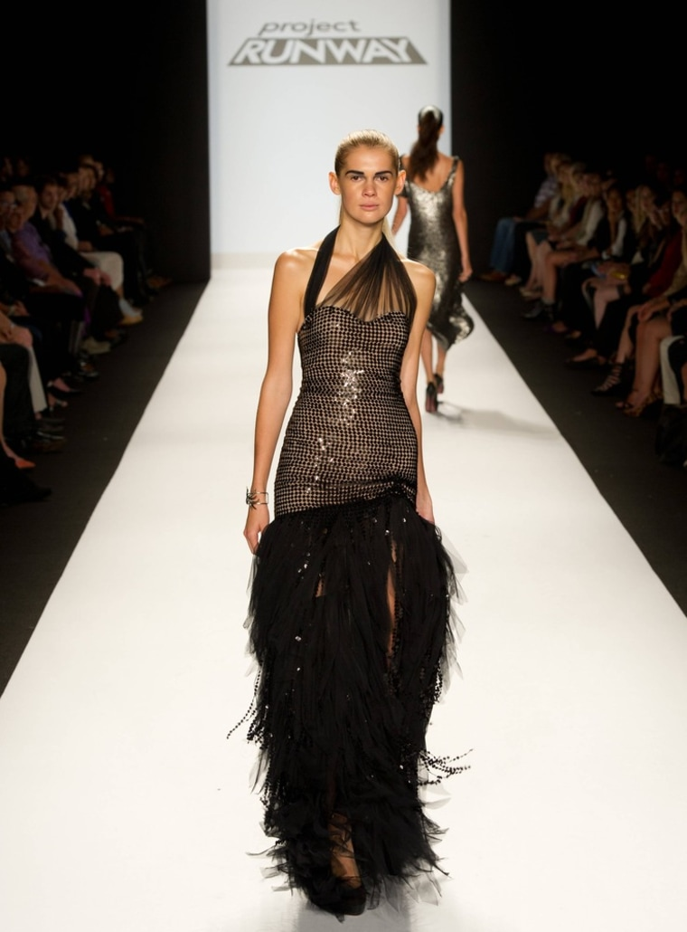 """One of Dmitry Sholokhov's final designs walks the \""""Project Runway\"""" finale show."""
