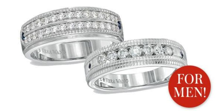 Diamonds may be a girl's best friend, but Vera Wang is now making diamond wedding bands for gentlemen too.