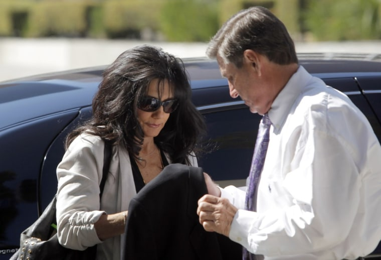 Britney Spears' parents, Lynne Spears, left, and Jamie Spears arrive at court in Los Angeles on Friday, Oct. 19.