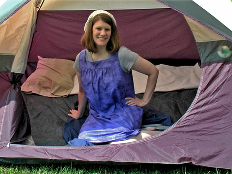 Rachel Held Evans slept in a tent during her period every month as part of her year-long project.