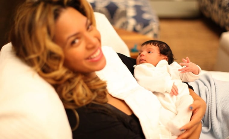 Beyonce with daughter Blue Ivy back in January.