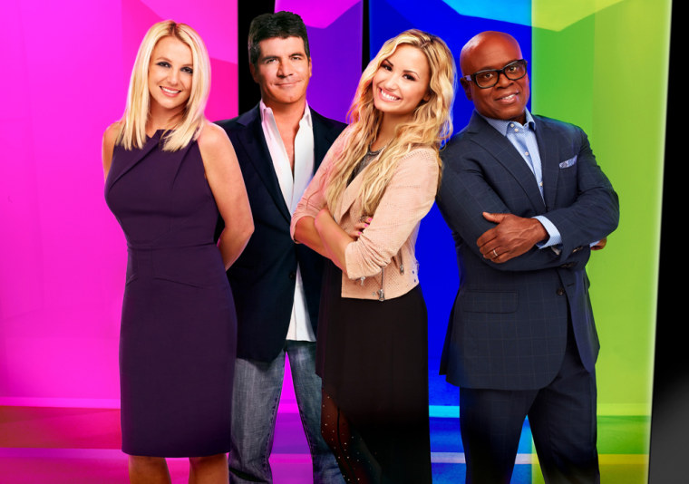 """Britney Spears, Simon Cowell, Demi Lovato and L.A. Reid of \""""The X-Factor.\"""""""