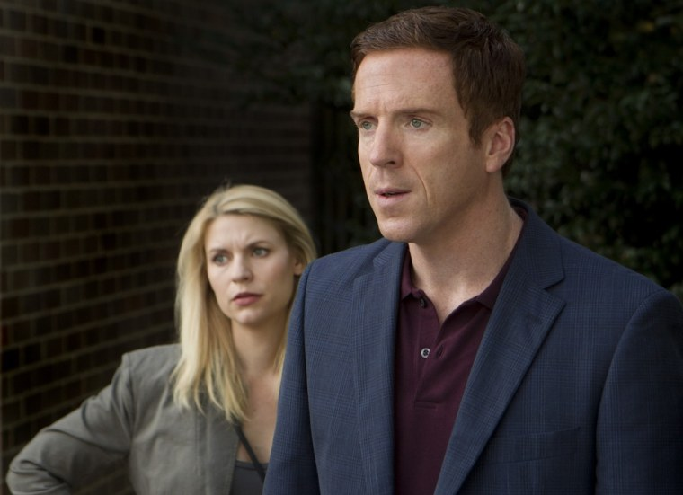 """Claire Danes as Carrie Mathison and Damian Lewis as Nicholas \""""Nick\"""" Brody in \""""Homeland.\"""""""