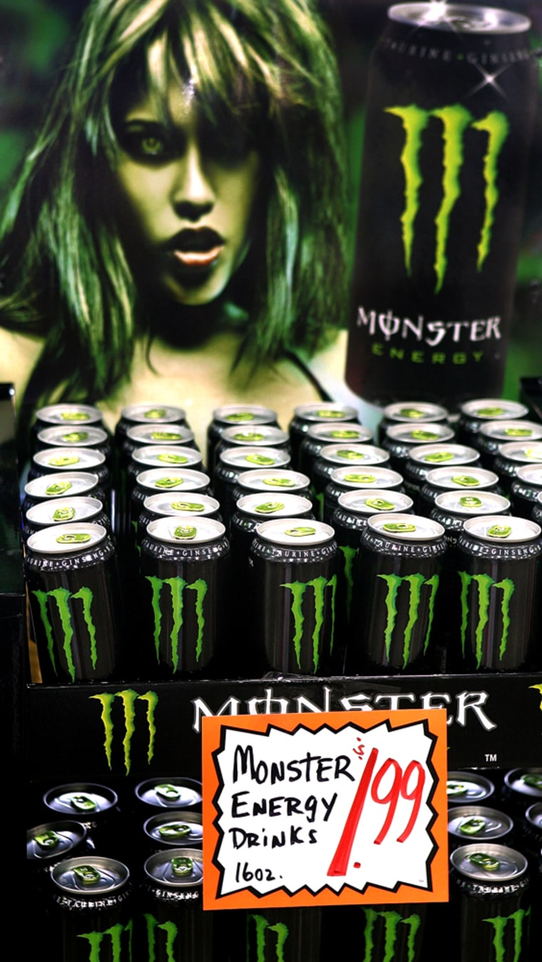 Bottles of energy drink, Monster, lie on display at a market in Des Plaines, Ill., in this March 2006 file photo.