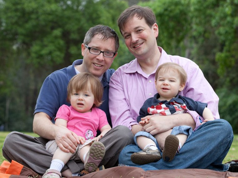 Jerry Mahoney (on left), with his family: Partner Drew Tappon, daughter Sutton and son Bennett.