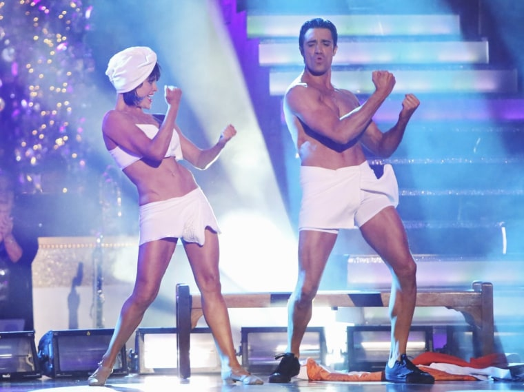"Gilles Marini and pro partner Peta Murgatroyd perform their part of the \""Gangnam Style\"" team dance."