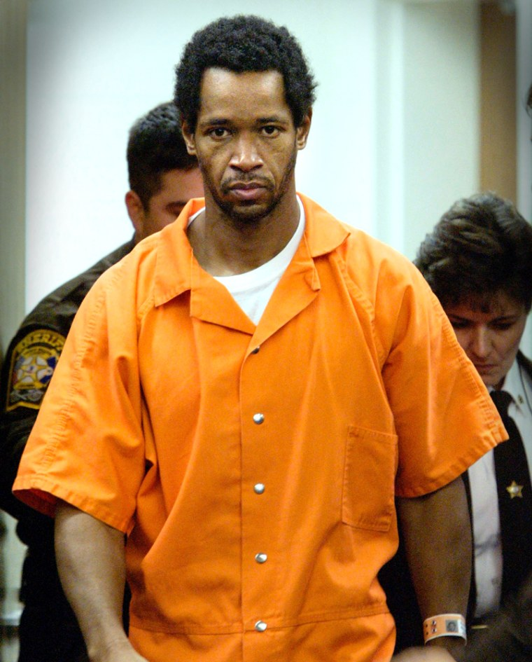 John Allen Muhammad, here arriving in court in 2002, was put to death by lethal injection in 2009.