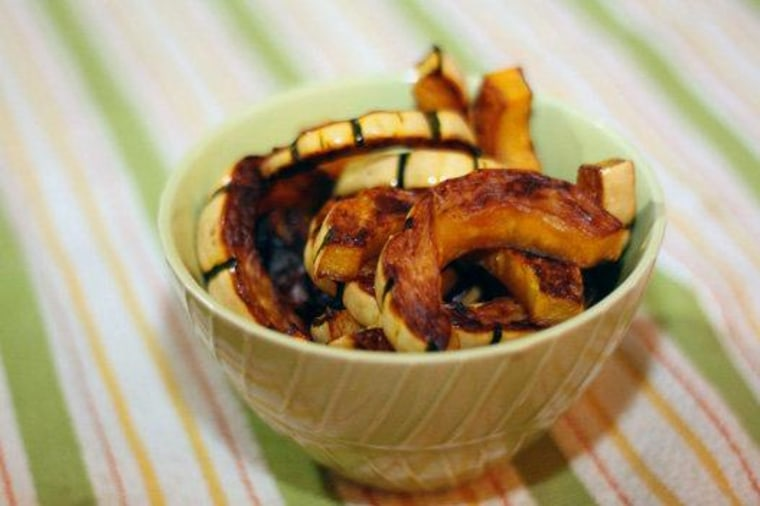 "Yum! Use delicata squash for delicious baked ""fries."""
