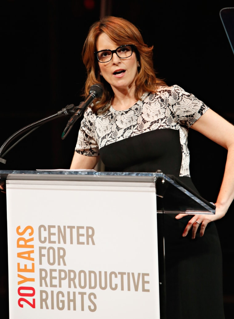 Tina Fey speaks at the Center for Reproductive Rights Inaugural Gala at Jazz at Lincoln Center in New York on Wednesday.