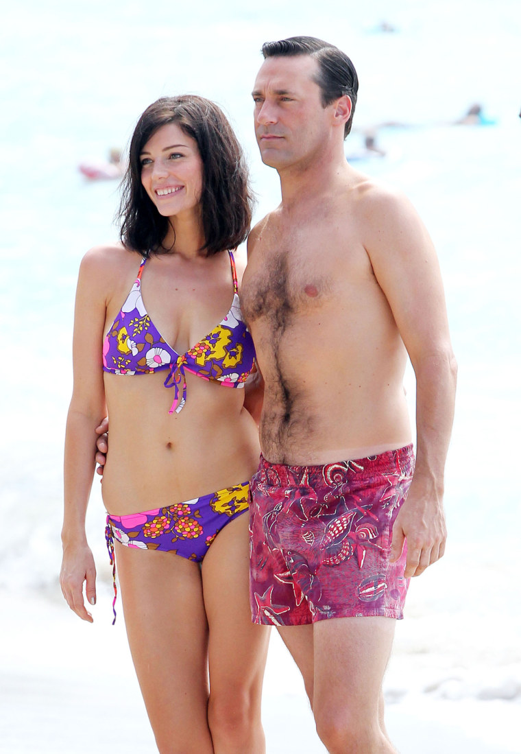 Actor Jon Hamm and actress Jessica Pare in Maui, Hawaii.