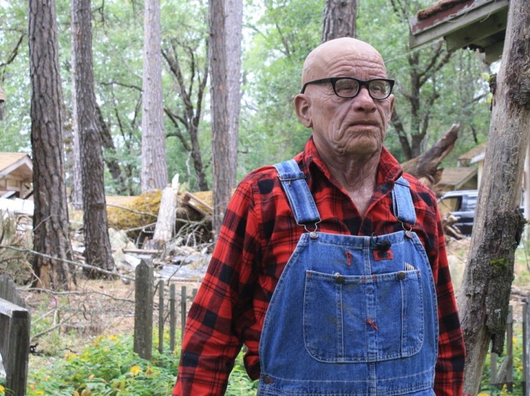 """""""MythBusters"""" host Adam Savage dressed as a cabin caretaker for the Halloween episode."""