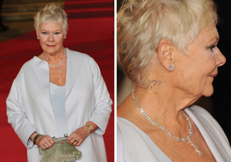 Judi Dench and her 007 neck flare.