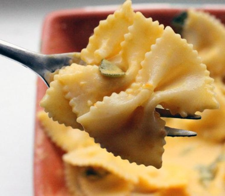 Yum! Celebrate National Pumpkin Day by making a savory cream sauce with pumpkin and sage.