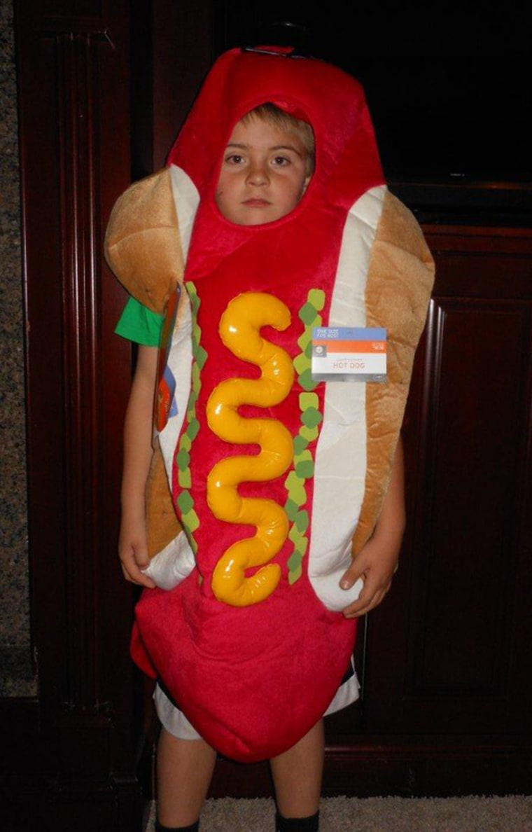 The saddest little hot dog: Tyson Wingate, 7, fell in love with this hot dog costume in the store, but started having second thoughts in the car. The tags are still on, so mom is giving him until this weekend to decide.