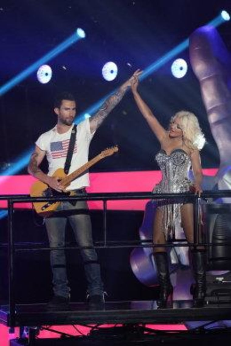 Adam Levine and Christina Aguilera.