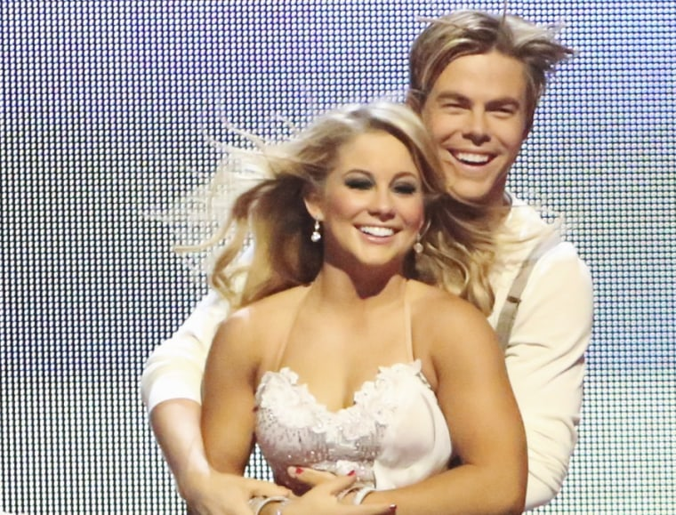 "Shawn Johnson and pro partner Derek Hough danced a romantic rumba to the ""Titanic"" theme song last week."
