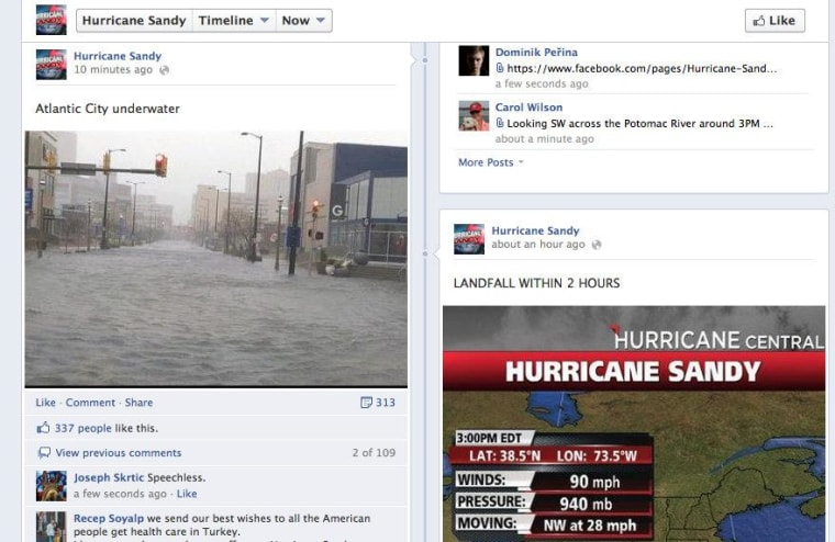 On Facebook, the Hurricane Sandy page was filled with photos and updates from the storm.