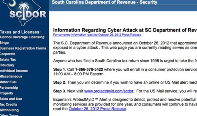 State of Carolina, Department of Revenue web page