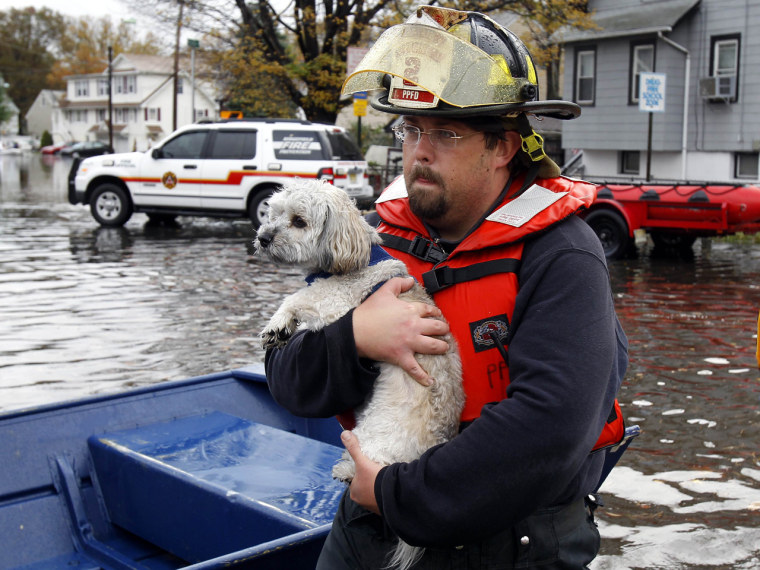 A fireman carries a resident's dog to safety from flood waters in Little Ferry, N.J. on Tuesday.