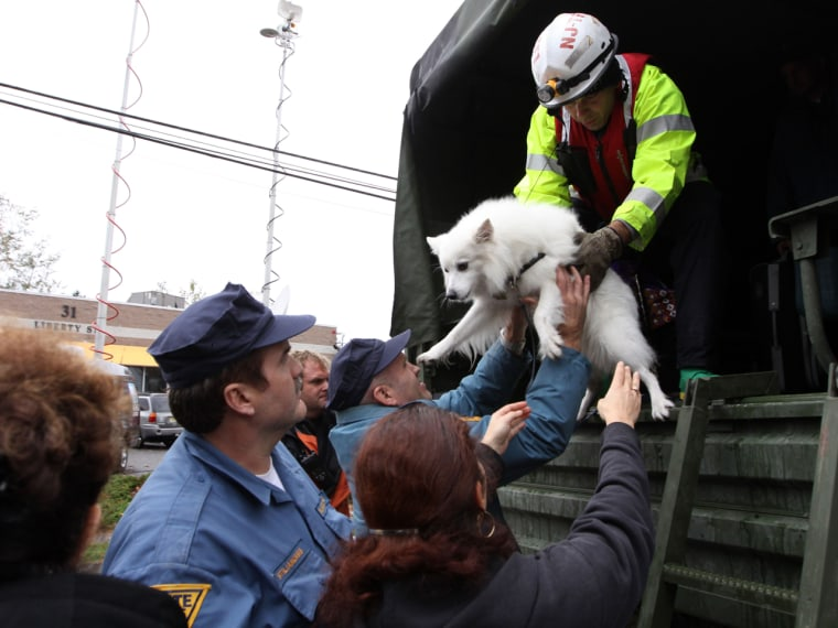 These residents of Little Ferry, N.J., also evacuated on Tuesday with their dog.