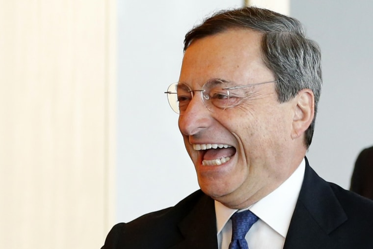 Let's hope he'll be this happy later this week. European Central Bank (ECB) President Mario Draghi, pictured above, is expected to unveil a new plan Thursday to tackle the eurozone's nagging debt crisis.