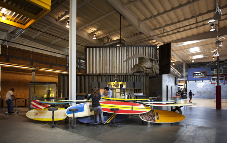 TBWA\Chiat\Day took the open office concept to the extreme for their Los Angeles digs, buying an old warehouse and converting it to workspace in 1998.