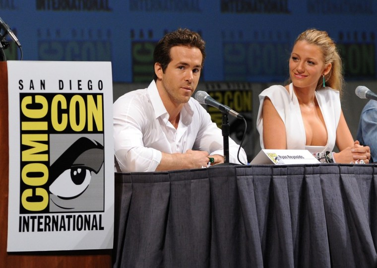 """Actors Blake Lively, right, and Ryan Reynolds during a """"Green Lantern"""" panel discussion at Comic-Con in San Diego on July 24, 2010."""