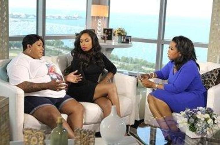 """Julia Hudson (left) joins celebrity sister Jennifer Hudson on \""""Oprah's Next Chapter.\"""""""