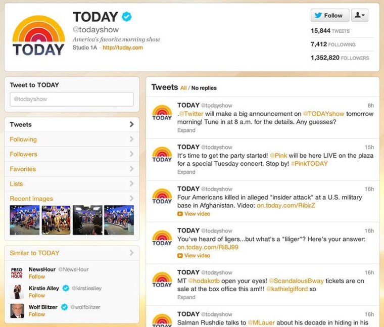 The old TODAY Twitter profile page, with the avatar to the far left, and a not-so-obvious photo stream.