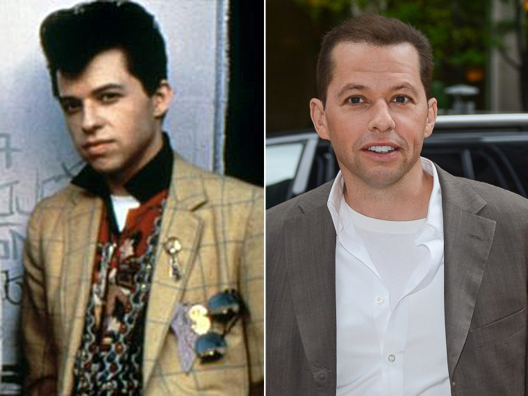 """Jon Cryer in """"Pretty in Pink"""" at left, and today at right."""