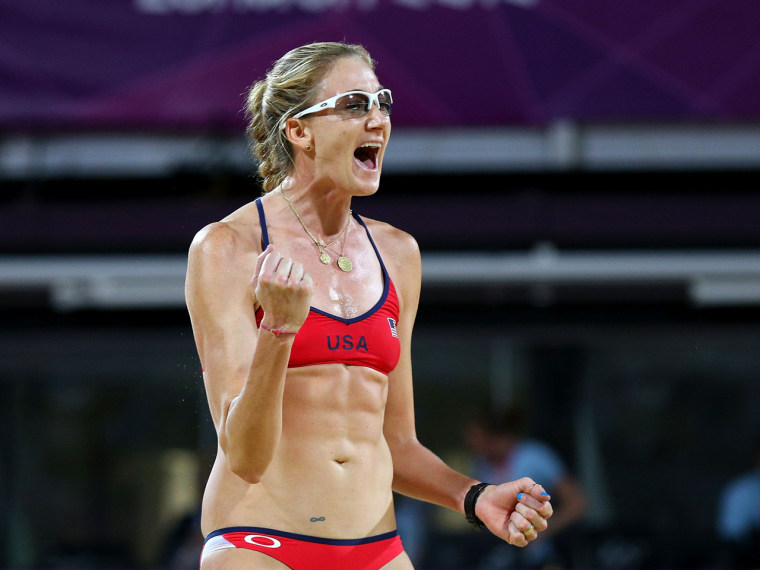 """Say what?! Looking back at the London Olympics, beach volleyball player Kerri Walsh Jennings tells TODAY.com she sees signs that she's pregnant (five weeks at the time of her gold medal win): \""""I look at pictures and I'm like, 'God you can tell!' I look thicker.\"""""""