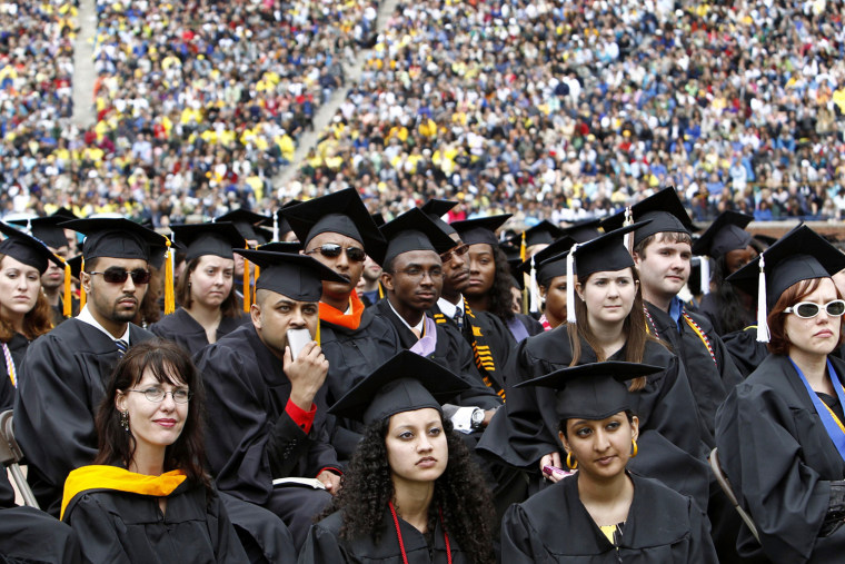 Graduating students at the University of Michigan commencement ceremony in Ann Arbor.