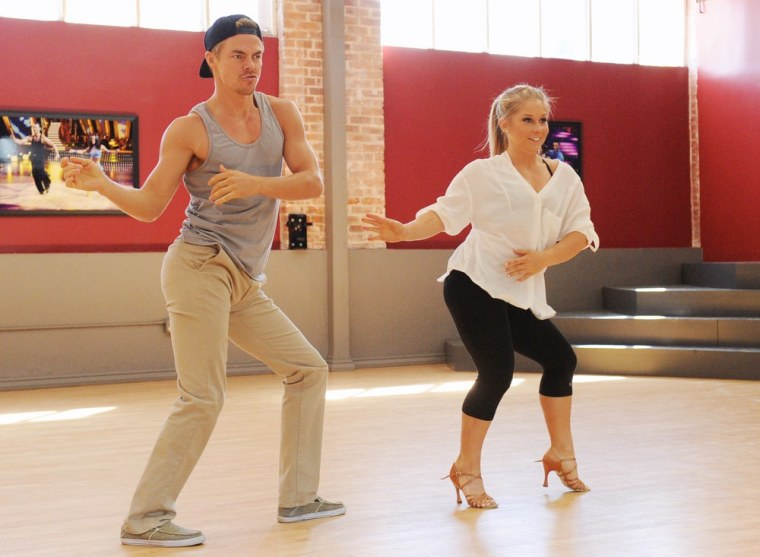 """Dancing"" pro Derek Hough and Olympian Shawn Johnson rehearse in preparation for the big ""All-Stars"" premiere."
