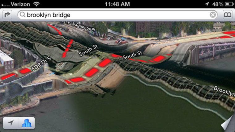 Brooklyn Bridge on Apple Maps