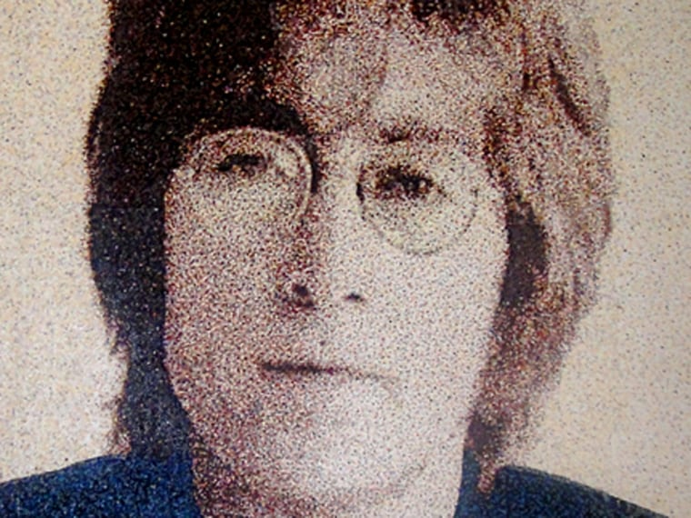 Douthwaite made this image of John Lennon as a birthday gift for a friend in Los Angeles. It was only the third dot portrait she had made, and she had to learn how to do hair and glasses.