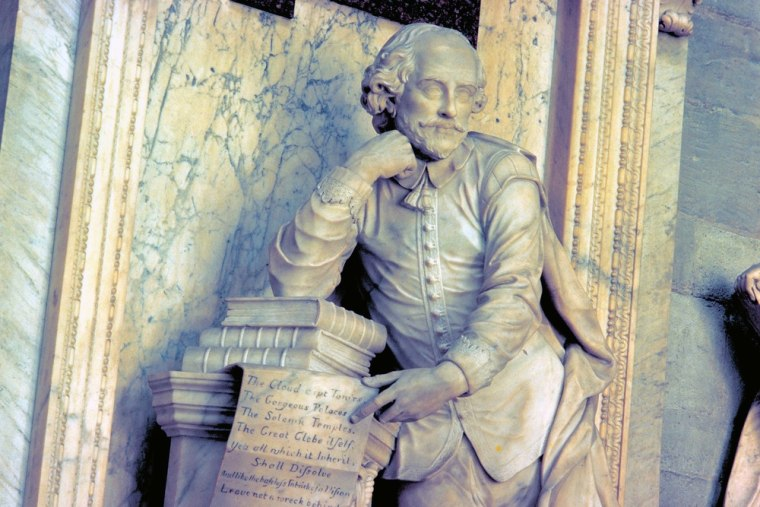 This March 17, 2009 photo provided by VisitBritain shows a monument to William Shakespeare in the Poets' Corner at Westminster Abbey in London.