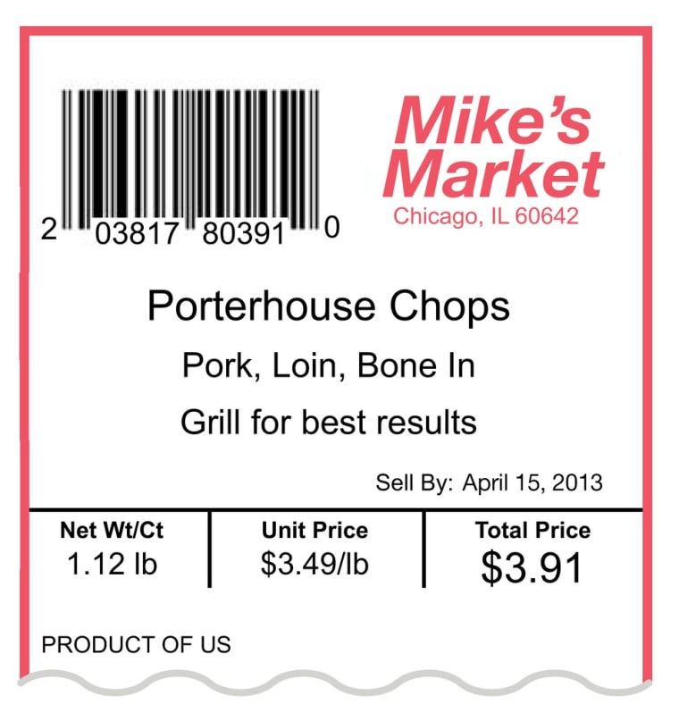 This image released by the National Pork Board shows an example of the updated Uniform Retail Meat Identification Standards (URMIS) label for porterho...
