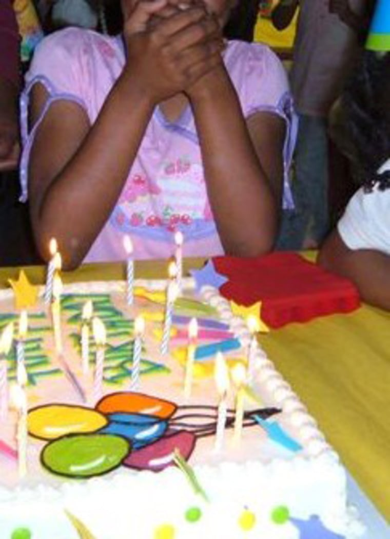 A homeless girl (who wished to remain anonymous) celebrates her birthday with the Cervantes family.