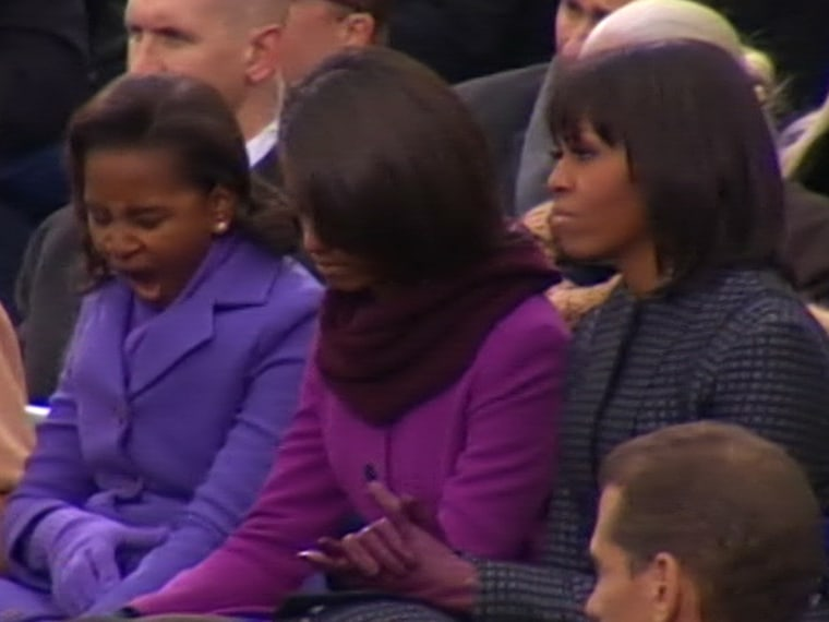 Sasha Obama lets out a yawn during her dad's inauguration.